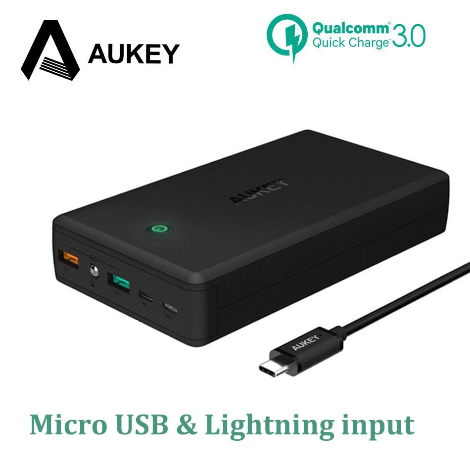 AUKEY 30000mAh Power Bank Quick Charge 3.0 Dual Usb Mobile Phone Charger Powerbank Portable External Battery Pack For Xiaomi etc