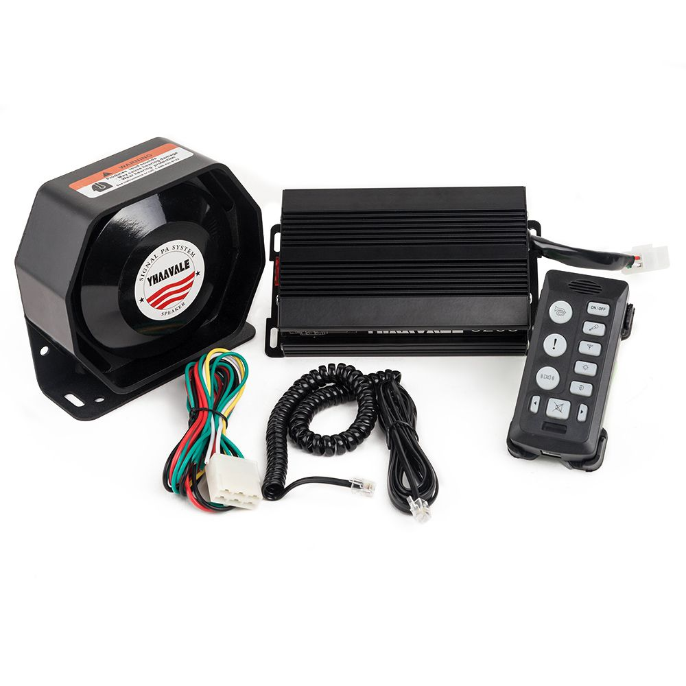 YHAAVALE 6203U Polizei Sirene PA System 200 Watt Verstärker mit Metall Ultra Slim Flache Lautsprecher Notfall Sirene für Fahrzeug