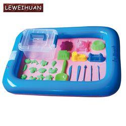 Meja Pasir tiup Tray Plastik Mobile Untuk Anak Anak Dalam Ruangan Bermain Pasir Tanah Liat Warna Lumpur Mainan Aksesoris multi-fungsi