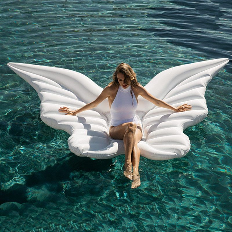 180 cm Riesen Engel Flügel Aufblasbare Pool Float Weiß Luft Matratze Liege Wasser Partei Spielzeug Fahrt-auf Schmetterling Schwimmen ring Piscina