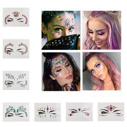 Temporaire Strass Tatouage Autocollants Visage gemmes bijoux Festival Parti Maquillage Body Art Gems Flash Tatouage Autocollant Étape Maquillage