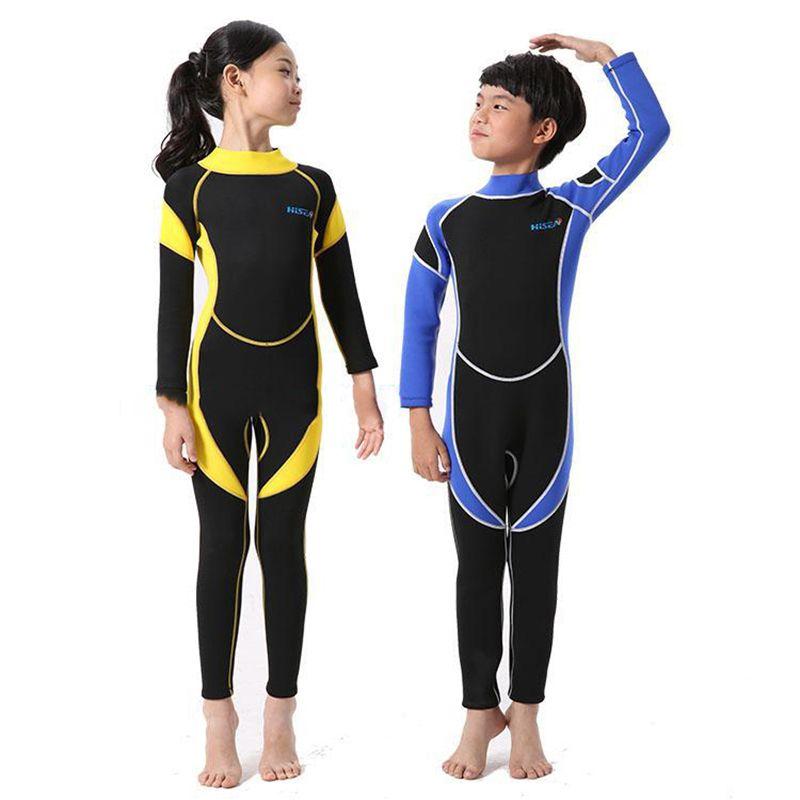Kids 2.5MM Neoprene Scuba Diving Suit Wet Suits Kids Swimwear Surfing Snorkeling One-Piece Suit Children Wetsuit <font><b>Swim</b></font> Jump Suit