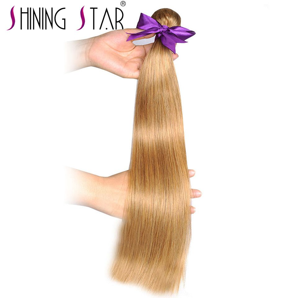 Colored #27 Honey Blonde Bundles Straight Human Hair Weave Bundles 100% Peruvian Hair Extensions Shining Star Thick Weft NonRemy