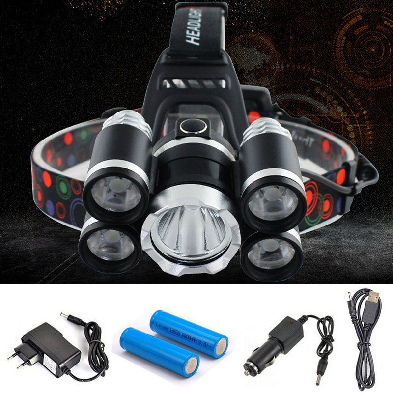 Headlight 40000 <font><b>Lumen</b></font> headlamp 5CREE XML T6+Q5 LED Head Lamp Flashlight Torch Lanterna head light with battery AC/DC charger
