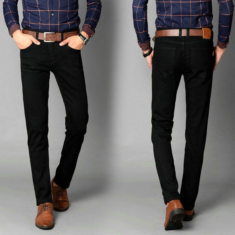 Новые мужские брендовые дизайнерские черные Джинсы для женщин стрейч повседневные Прямые джинсы мужской Slim Fit Хлопок Бизнес Брюки vaqueros Hombre