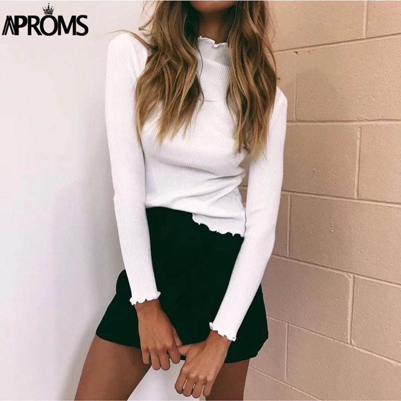 Aproms White Turtleneck Bodycon Sweaters Women Solid Basic Pullovers Slim Fit Street Knitwear 2018 Knitted <font><b>Pull</b></font> Femme Jumper