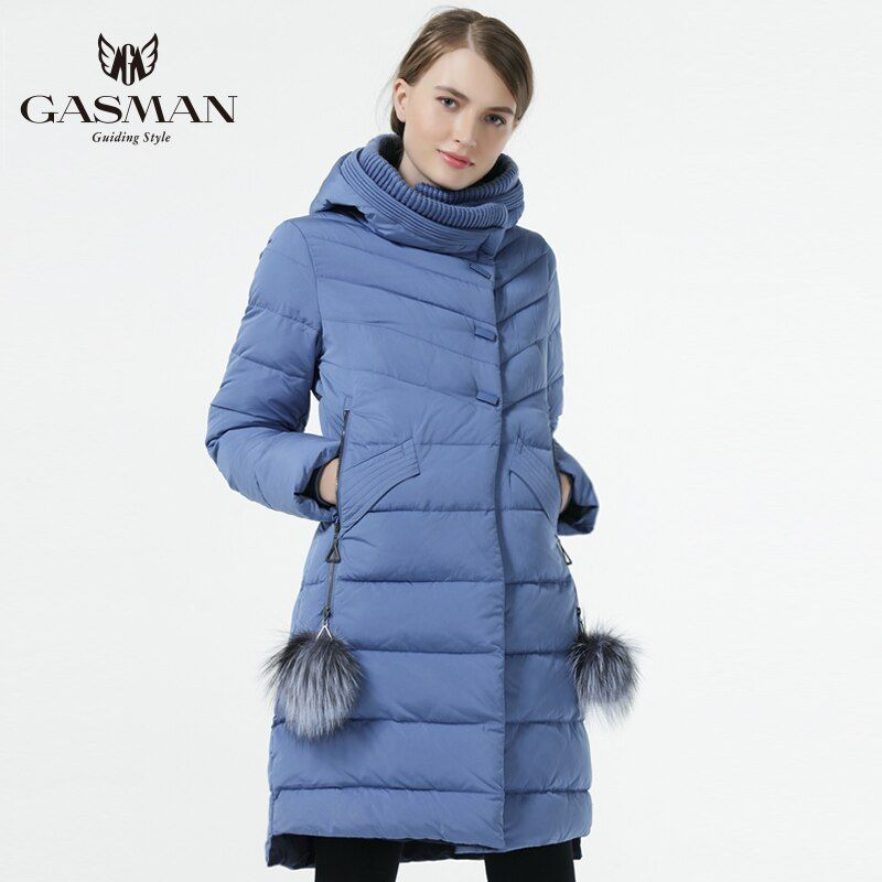 GASMAN 2018 Winter Women Down Jacket Medium Length Female Thick Warm Hooded Down Parka Windproof Overcoat With Natural Fur Ball