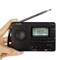 TIVDIO V-115 Radio AM FM SW Pocket Radio Receiver Shortwave Transistor MP3 Player TF Card USB REC Recorder FM Tuner Work F9205A