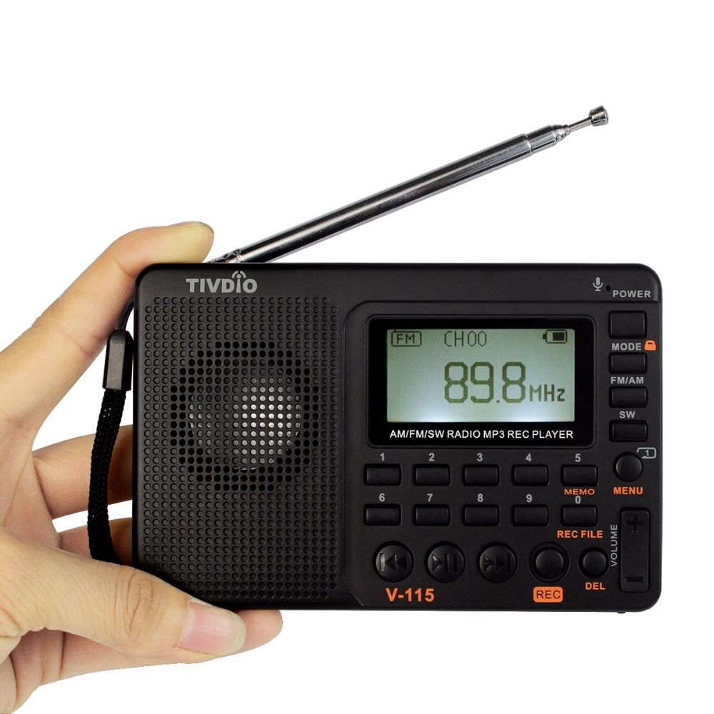 TIVDIO V-115 Radio AM FM SW Pocket Radio Receiver Shortwave Transistor Receiver TF Card USB REC <font><b>Recorder</b></font> FM Tuner Work F9205A