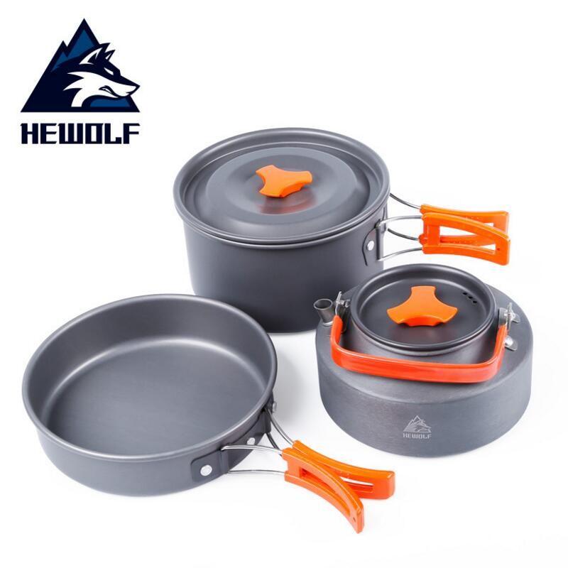 Hewolf extérieure pot bouilloire camping ustensiles de cuisine En Aluminium pliable vaisselle trekking pique-nique camping cooking set pique-nique équipement