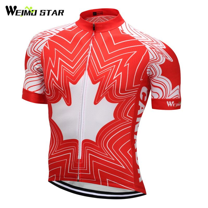 Weimostar 2018 Breathable Canada Team Cycling Jersey Top Men Short Cycling Clothing Racing Sport mtb Bike Jersey Bicycle Clothes