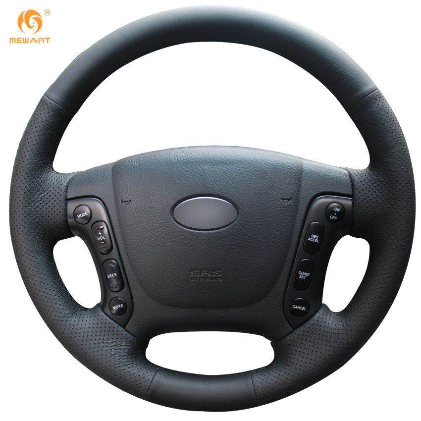 MEWANT Black Artificial Leather Car Steering Wheel Cover for Hyundai Santa Fe 2006-2012