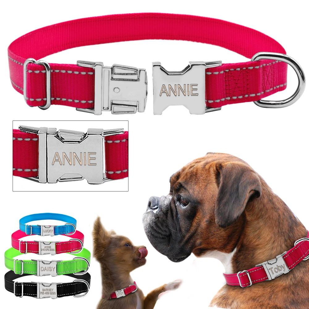 Didog Personalized Dog Collar Reflective Nylon Dogs Collars Customized Dog Nameplate Engraved for Free