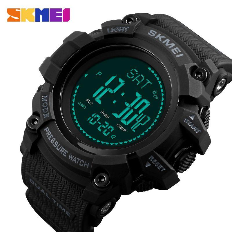SKMEI Outdoor Sport Uhren Herren Schrittzähler Kalorien Digitale Uhr Höhenmesser Wetter Barometer Kompass Thermometer Armbanduhr