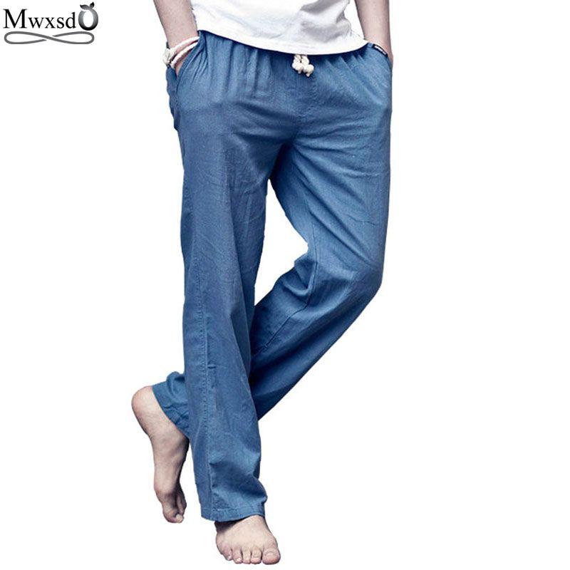 2019 nouvelle marque de haute qualité été lin hommes pantalons de respiration lâche décontracté mince pantalon droit pantalon pour hommes