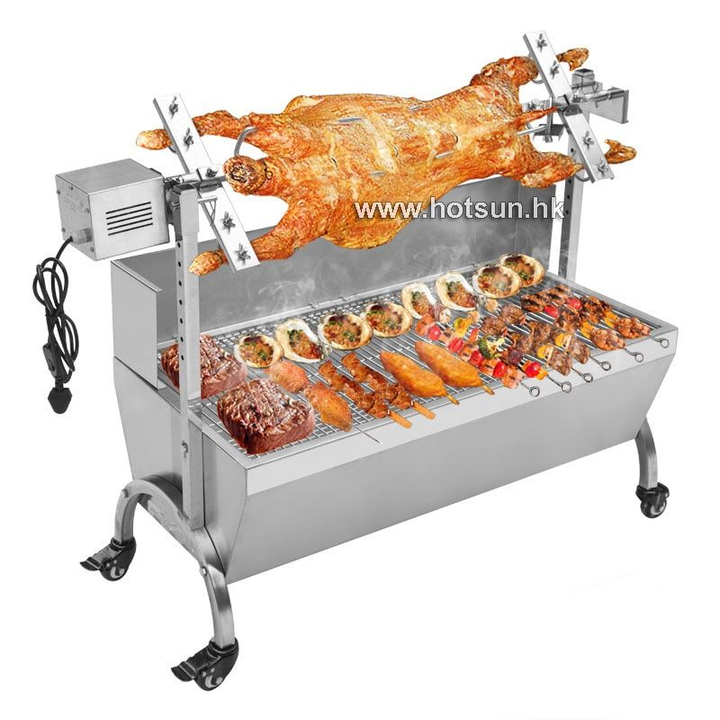 Free Shipping  Stainless Steel 60KG BBQ Grill Charcoal Pig Spit Roaster Rotisserie Barbeque