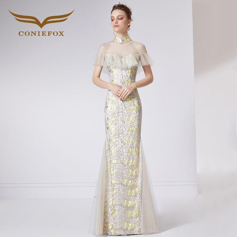Coniefox 32065 gelb meerjungfrau bankett abendkleid Partei Prom abendkleider kleider lange vestido de noiva festa