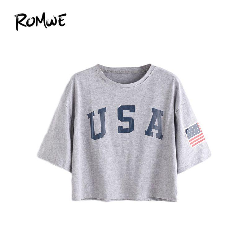 ROMWE t-shirts femmes 2019 été T-shirt décontracté haut femme gris lettre impression à manches courtes goutte épaule T-shirt