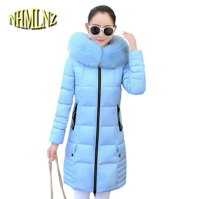 2018 Winter Jacket Latest Elegant Women Coat High quality Down Cotton Overcoat Slim Medium long Hooded Fur collar Jacket OK282