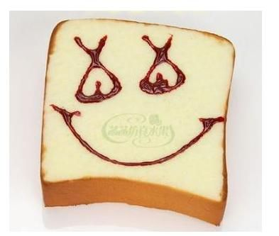 6.8CM Hot seller high simulation cute expression toasted bread artificial fake food Miniatures 5pcs/lots