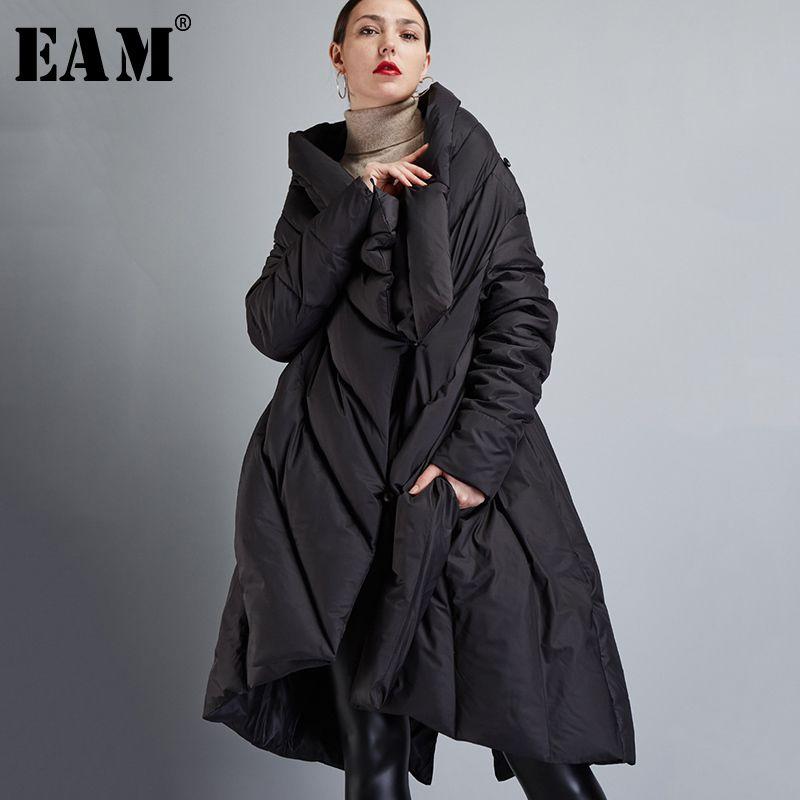 [EAM] 2019 Neue Frühjahr V-kragen Langarm Schwarz Lose Große Größe Unregelmäßigen Einfarbig Mantel Frauen jacke Mode JD72001S