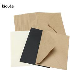 20 pcs/ensemble Classique Brun Blanc Noir Kraft Blanc Mini Papier Fenêtre Enveloppes D'invitation De Mariage Enveloppe Cadeau Enveloppe 3 Couleur
