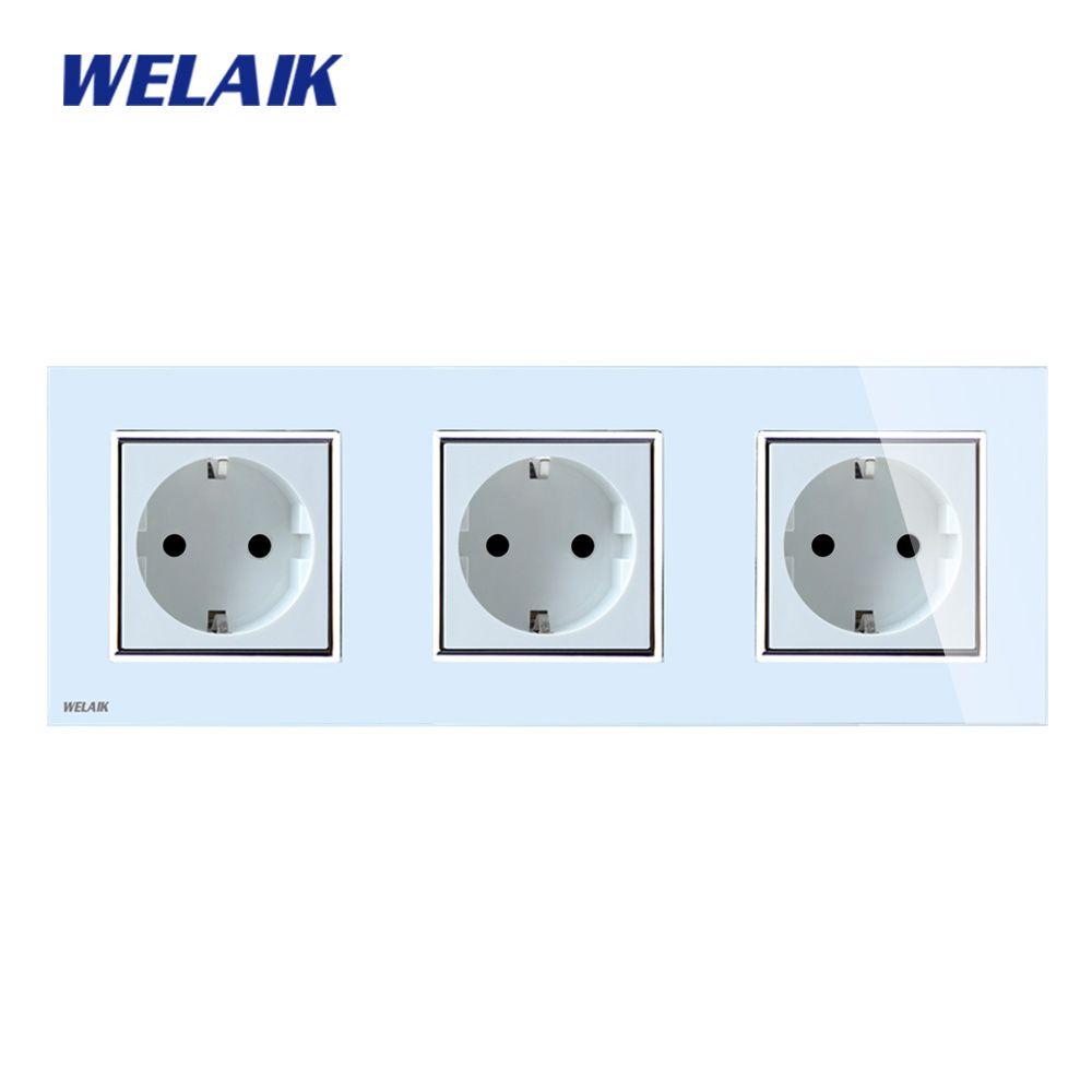 WELAIK Verre Panneau Mural Socket Prise Murale Prise Blanc Noir Européenne Standard Prise D'alimentation AC110 ~ 250 v A38E8E8EW/B