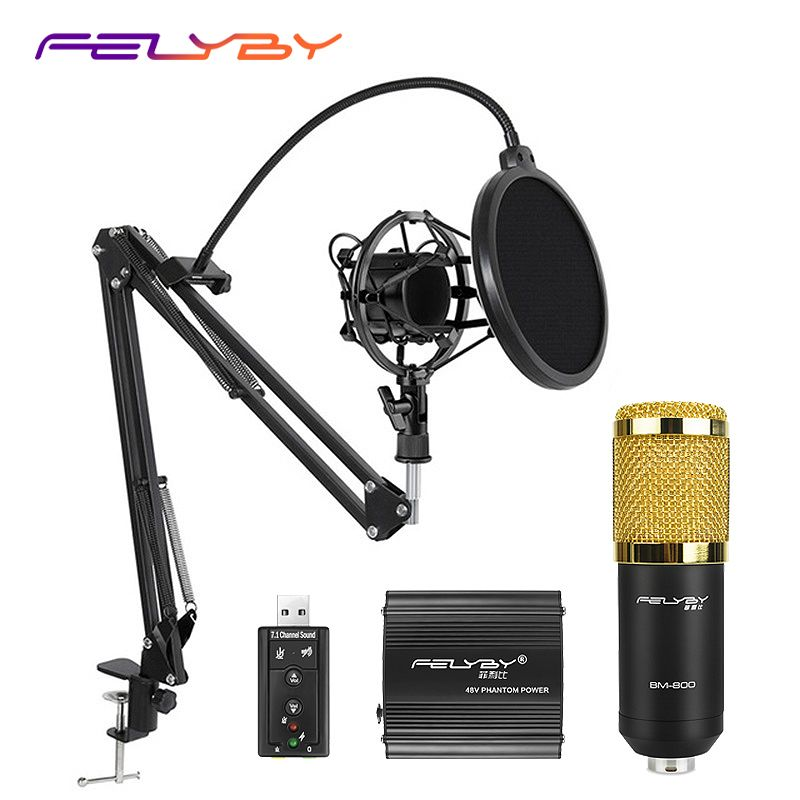 HOT! FELYBY BM 800 Professional Condenser Microphone for Computer Audio Studio Vocal Rrecording Mic Phantom Power Sound card