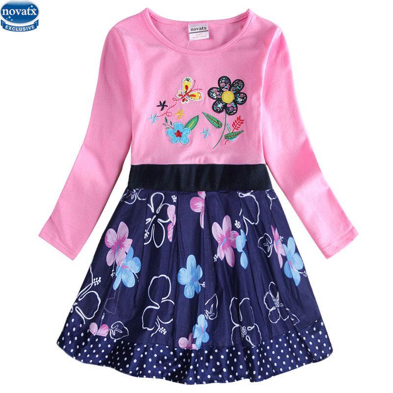 Niños de dibujos animados Niñas Vestido 2-6 t Nova usan a los niños ropa de manga larga bebé niños moda casual venta caliente niños vestidos