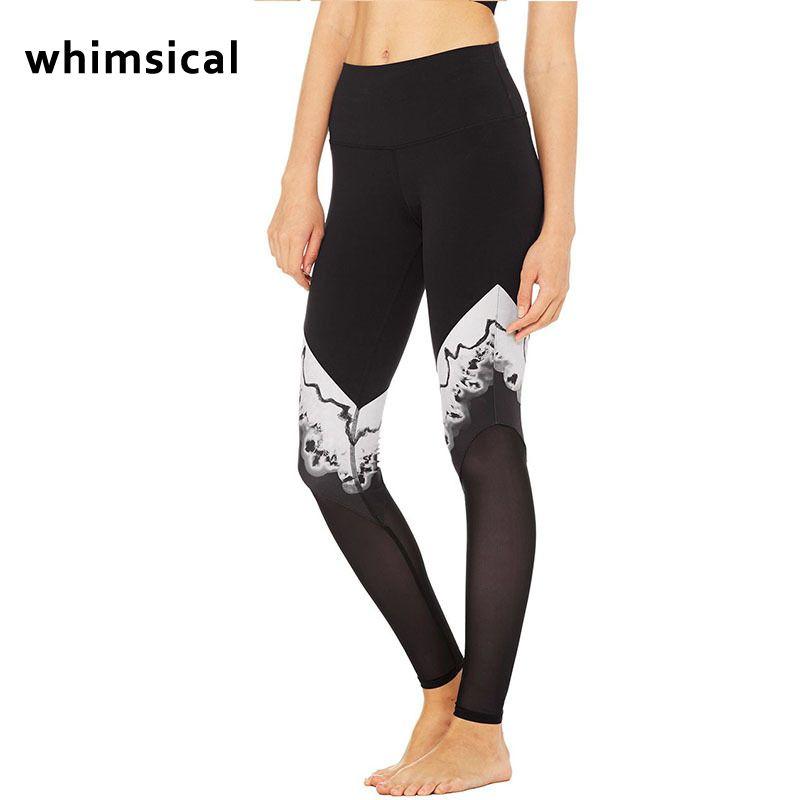 Whimsical new High-Waist Yoga Sexy Black&White Mesh Panel Leggings Adagio Goddess Legging Running Pants Fitness Active wear