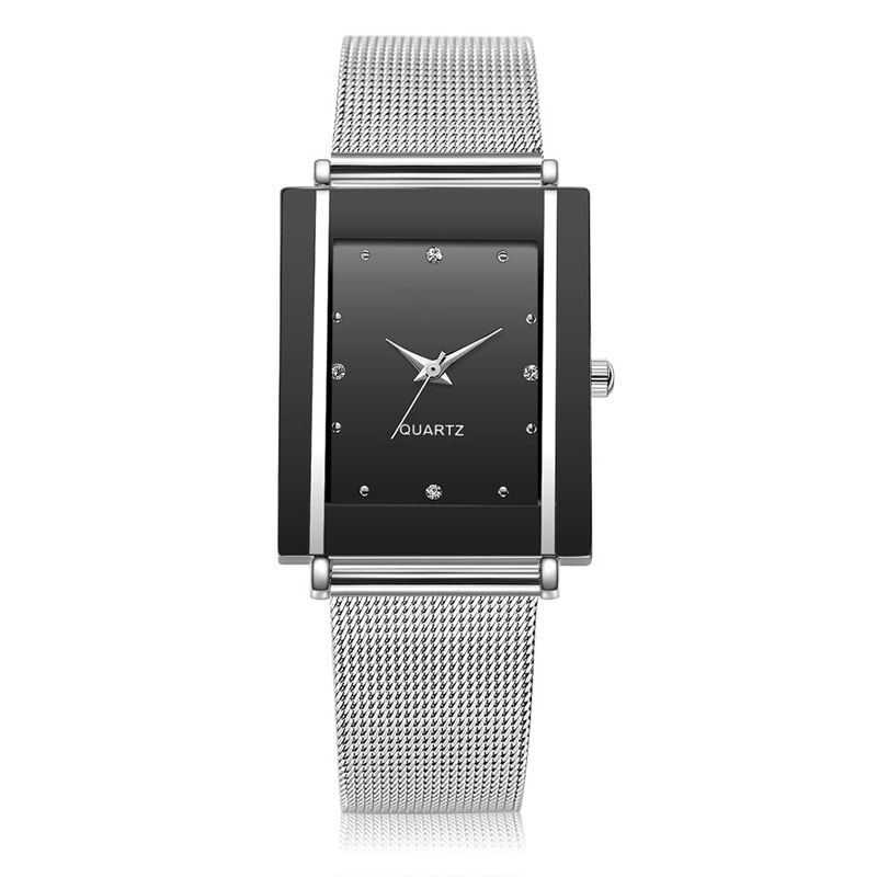 Business Mesh Strap Women Watch Quartz Watches Slim Wristwatches Fashion Casual Quartz Rectangle Clock Rhinestone Girl Alloy