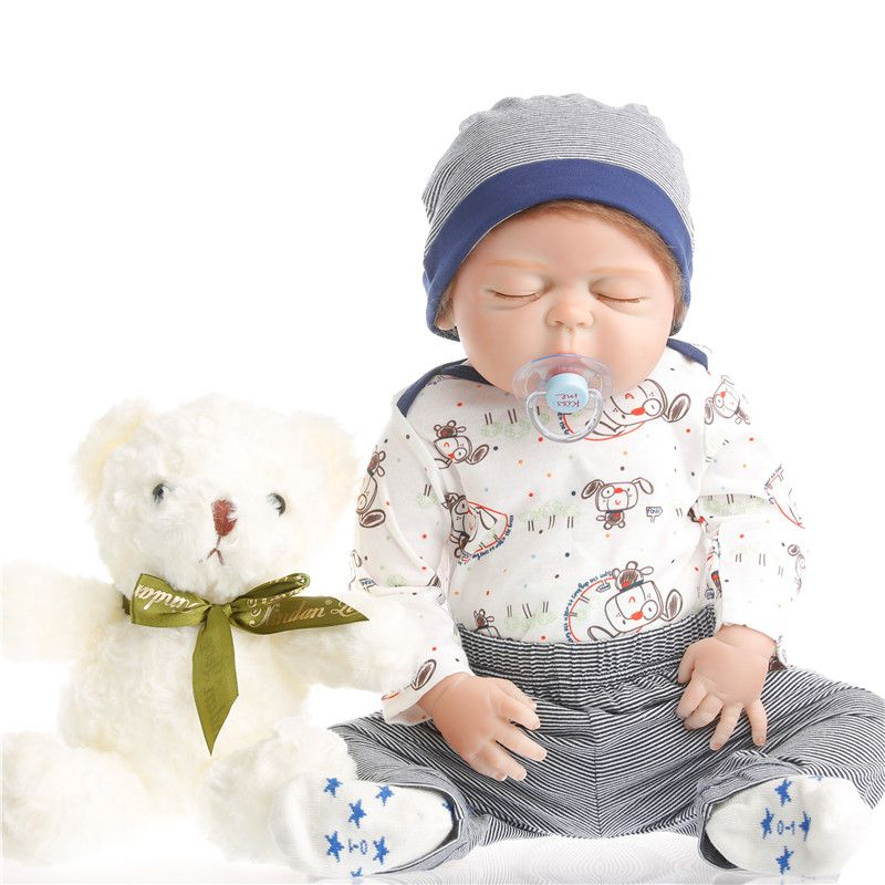 SanyDoll Hot New Reborn Silicone Baby Doll blue suit baby children's toys Magnet Pacifier 22 inches 55 cm