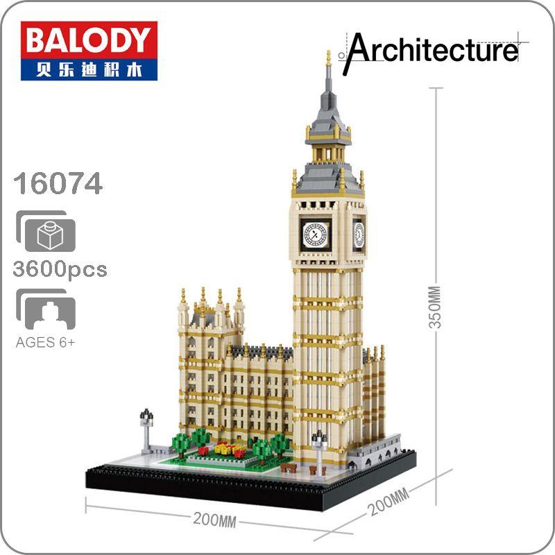 16074 welt Berühmte Architektur Elizabeth Turm Big Ben Modell Micro DIY Mini Bausteine 3D Montage Spielzeug Sammlung
