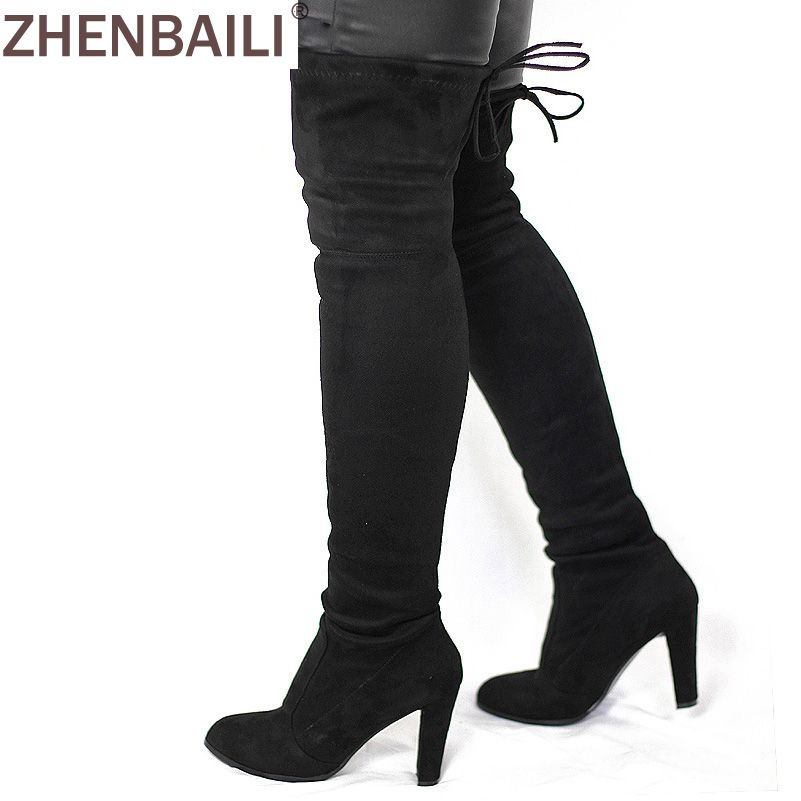 Women Faux Suede <font><b>Thigh</b></font> High Boots Fashion Over the Knee Boot Stretch Flock Sexy Overknee High Heels Woman Shoes Black Red Gray