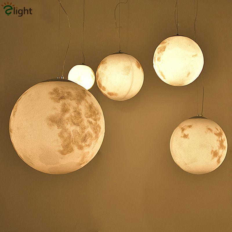 Post Modern Round Moon Led Pendant Light Nordic Acrylic Bar Pendant Lighting For Bedroom Hanging Fixtures Lustre Lamparas