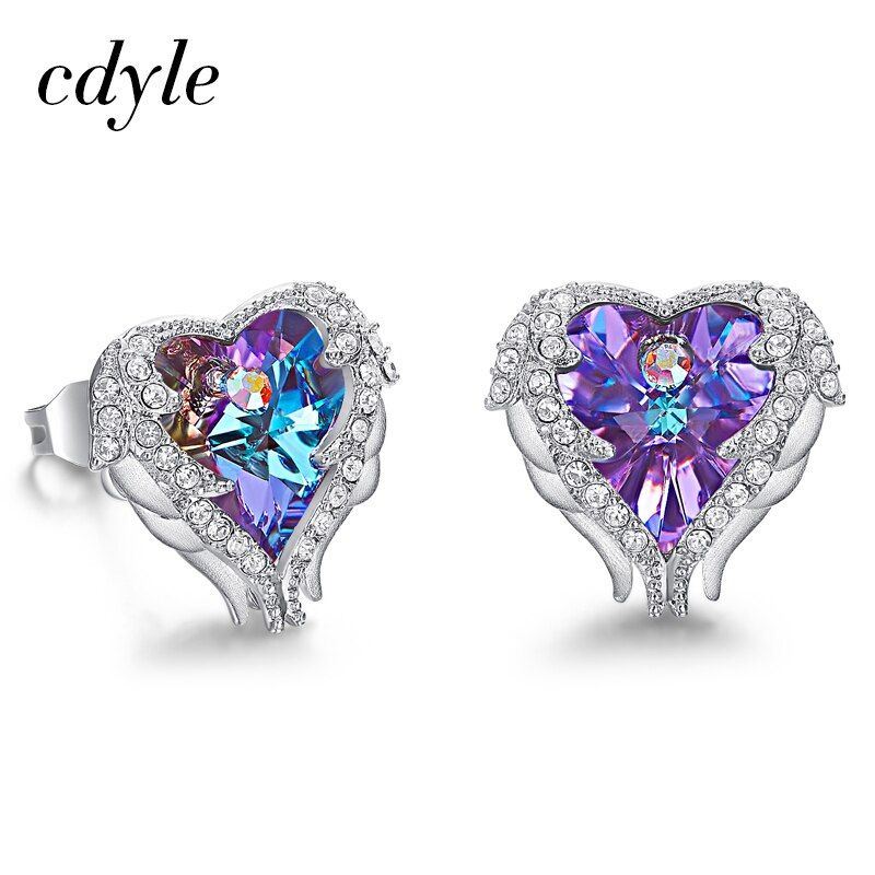 Cdyle Hot Sale Romantic Jewelry Stud Earrings For Wedding Crystals from Swarovski Elegant Angle Heart Earring Dropshipping