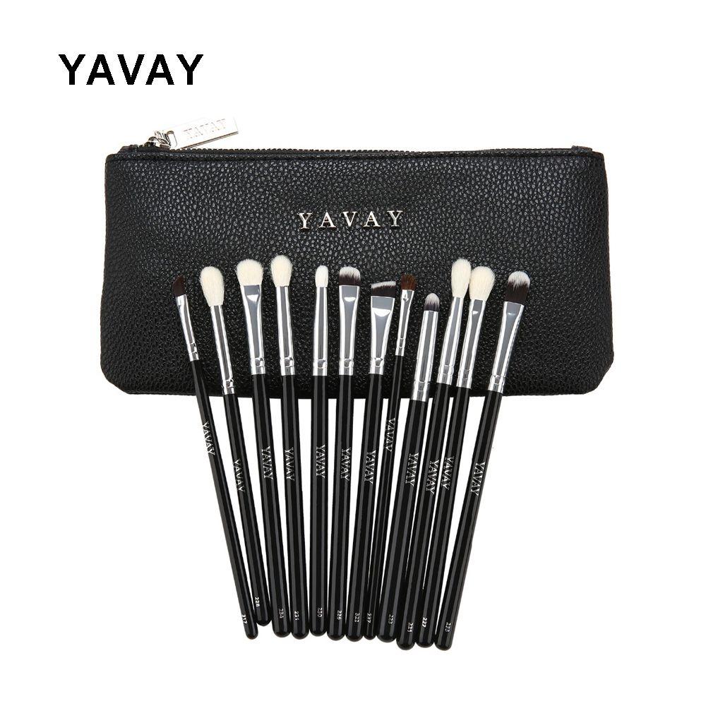 YAVAY 12 pièces luxe professionnel complet maquillage des yeux pinceau ensemble fard à paupières Eyeliner mélange crayon maquillage pinceaux vraie Photo