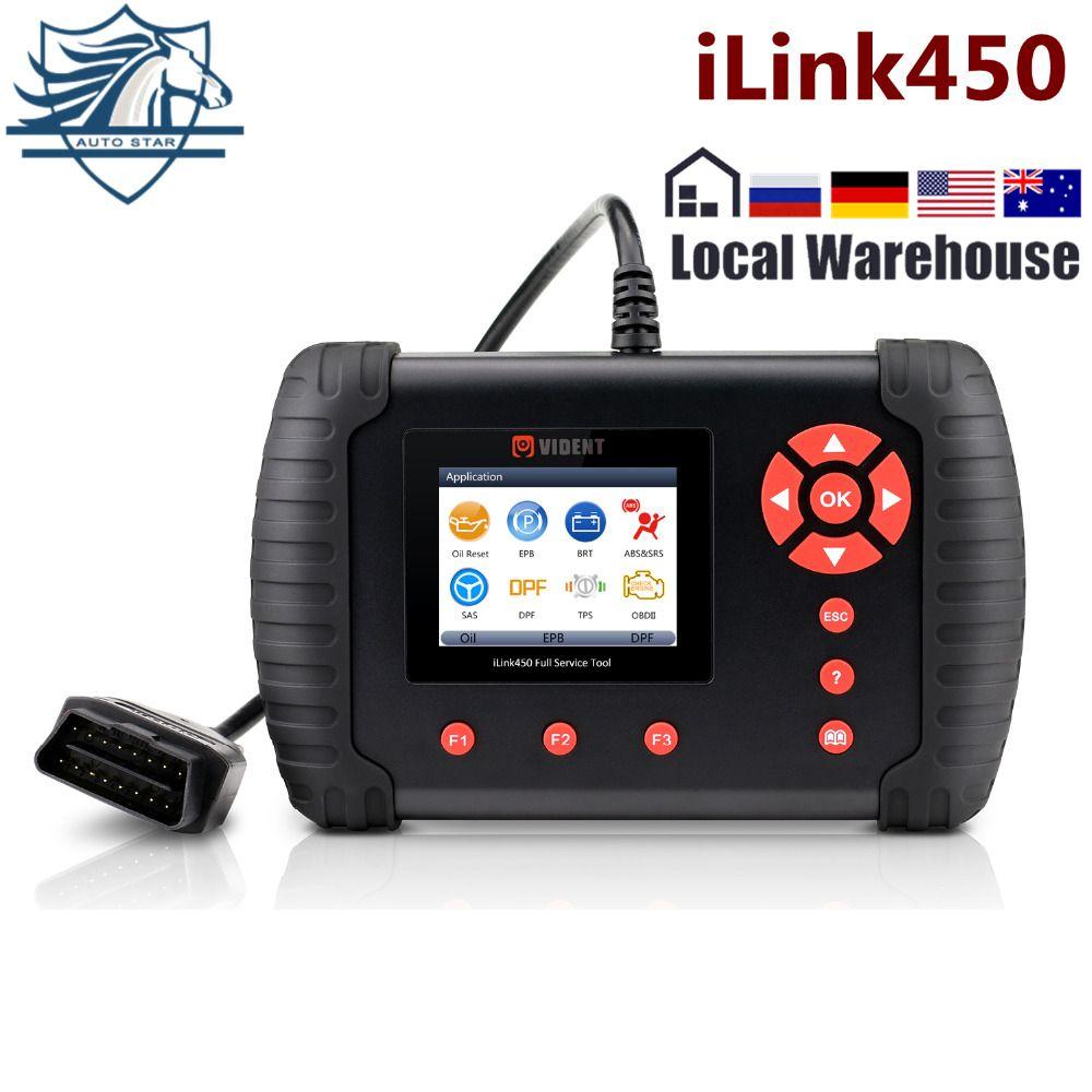 VIDENT iLink450 Full-Service Werkzeug, öl Reset EPB ABS SAS Airbag Reset Drosselklappengehäuse Ausrichtung DPF Regeneration Besser als NT644