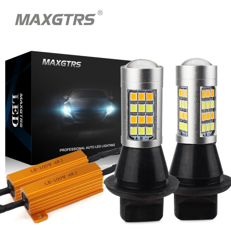 2x Dual Color 42SMD 2835 White/Ice Blue & Amber T20 7440 7443 LED Bulbs For Front Turning Lights Signal DRL Error Free Canbus