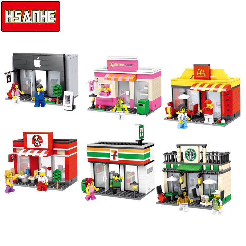 2017 распродажа hsanhe 6 видов стилей город серии мини улица Модель магазин с mcdonald's здания Конструкторы Игрушечные лошадки Совместимость с Lego