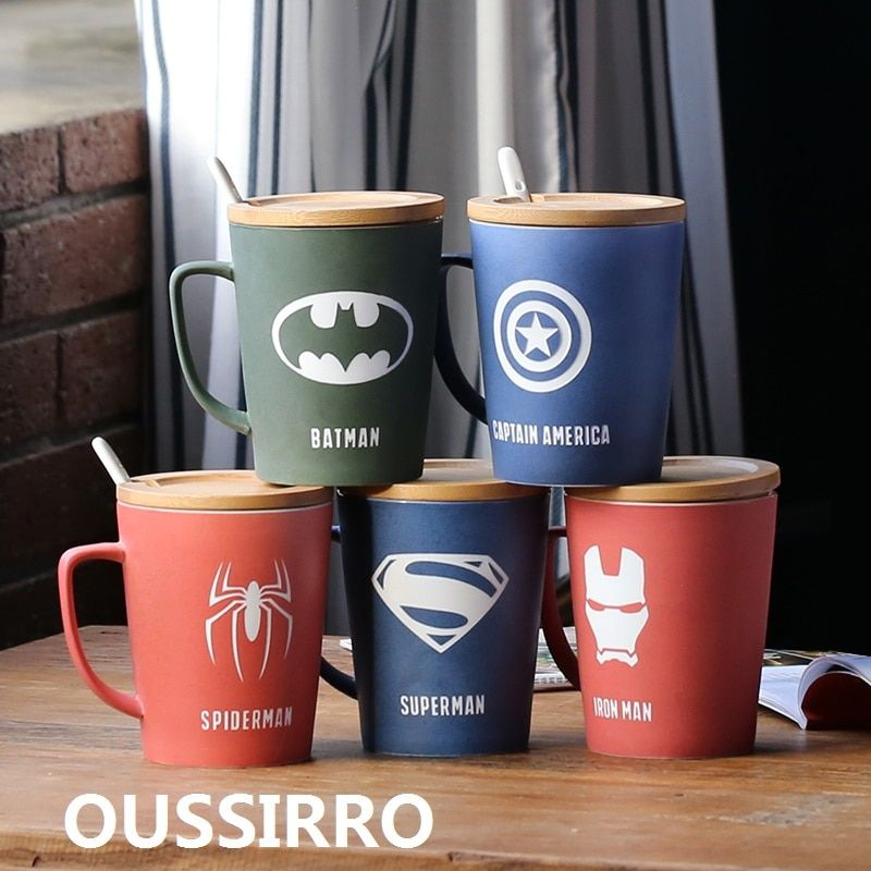 OUSSIRRO Super Hero Avenger Justice League Infinity Mugs With Cover and Spoon Pure Color Mugs Cup Kitchen Tool Gift