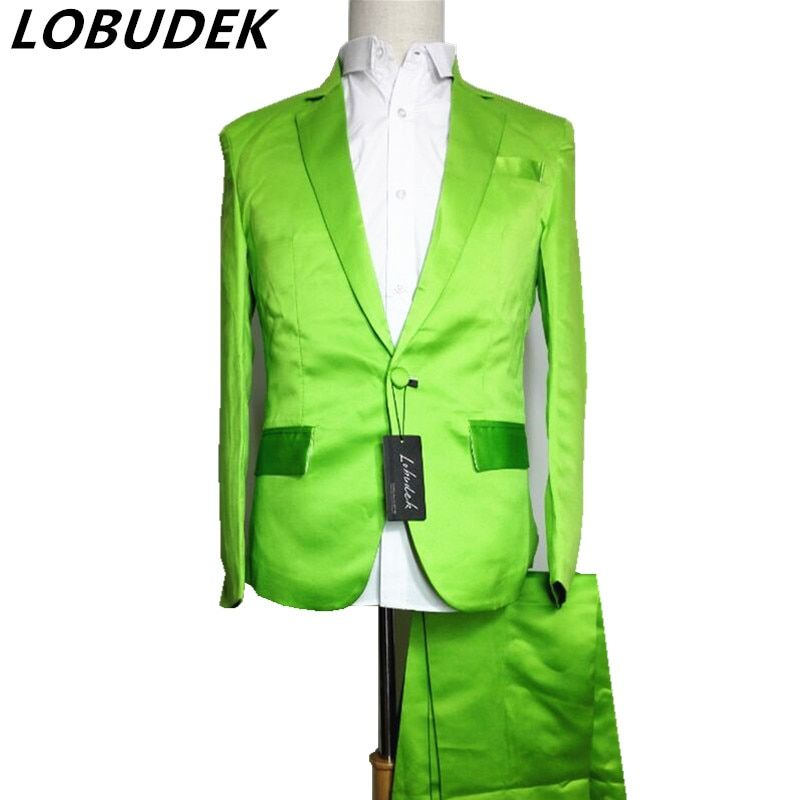 red green blue suit (jacket+pants) Neon blazer set multicolour suit set dj costume for singer dancer performance show bar stage