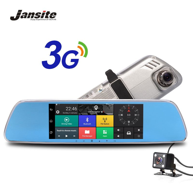 <font><b>Jansite</b></font> 3G Car Camera 7 Touch screen Android 5.0 GPS car video recorder Bluetooth rearview mirror Dash Cam Dual Lens Car Dvrs
