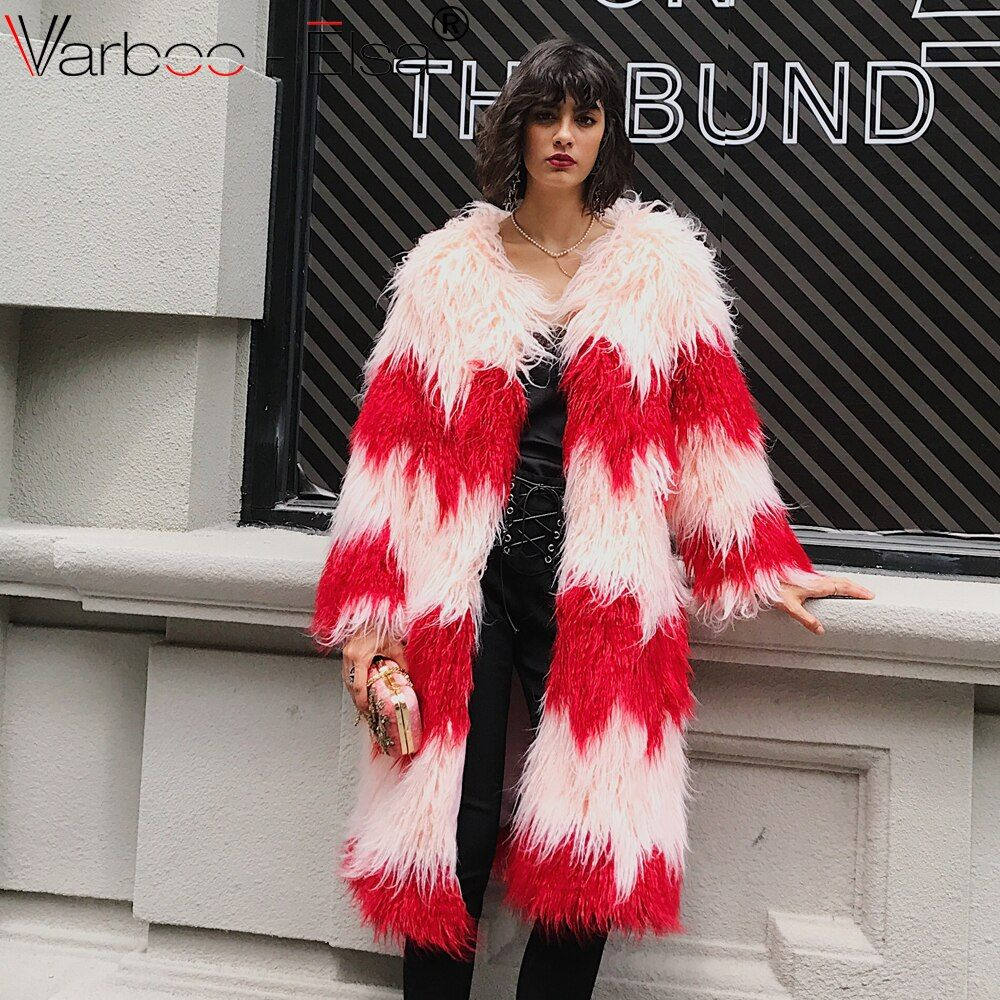 VARBOO_ELSA Vintage fluffy faux fur coat women long furry Sheep Fur winter outerwear red pink coat 2017 autumn casual party coat