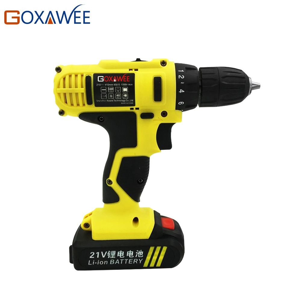 GOXAWEE 21V Electric Drill Two Speed Lithium Battery Rechargeable Cordless Drill Multi-function Electric Cordless Screwdriver