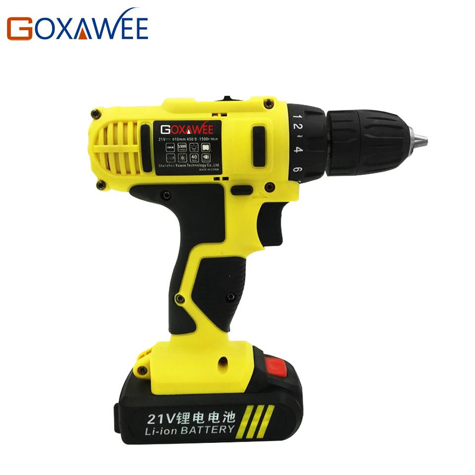 GOXAWEE 21V Electric Drill Two <font><b>Speed</b></font> Lithium Battery Rechargeable Cordless Drill Multi-function Electric Cordless Screwdriver