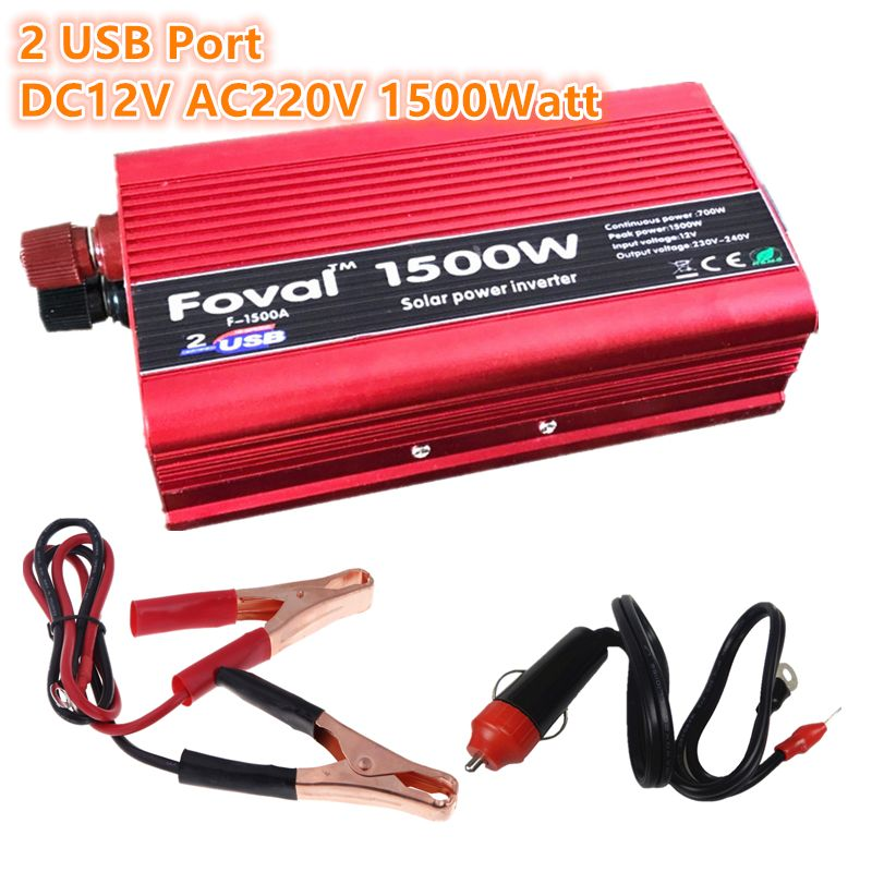 1500W Power Inverter 12v 220v 1500W DC to AC 1500 Watt Converter car Charger Vehicle Power Supply Switch
