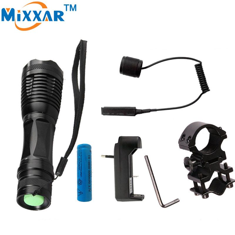 Nzk20 CREE XM-L T6 led torch 4000Lm zoomable tactical flashlight for Hunting +1*18650 battery + Remote Switch+Charger+Gun Mount