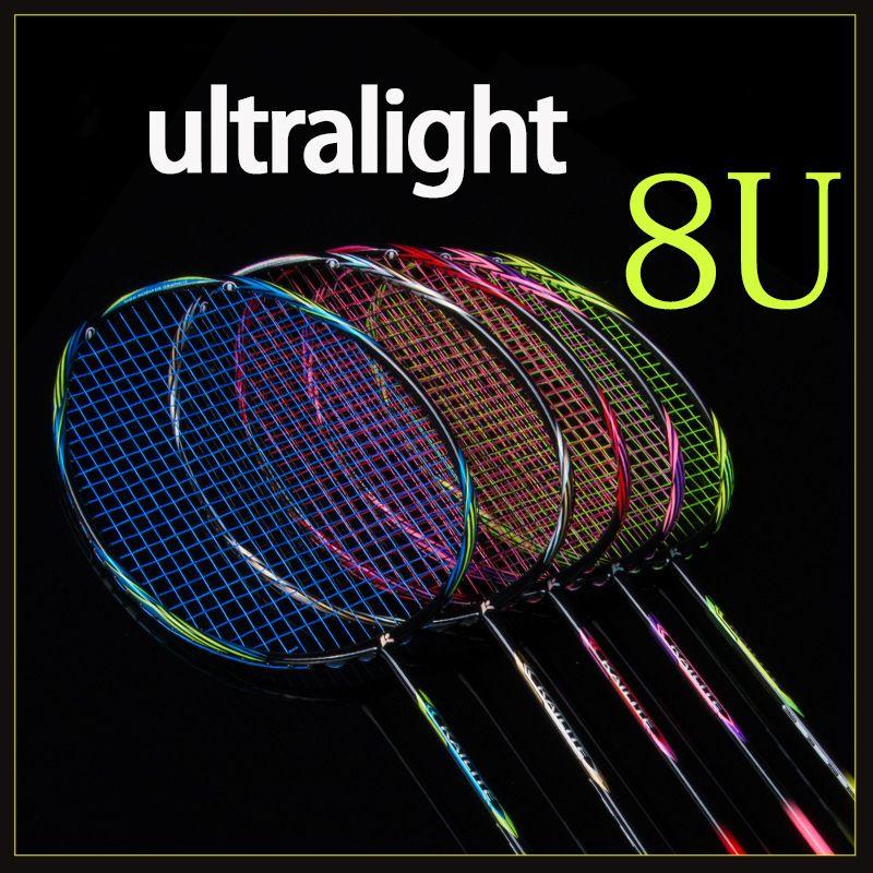 Multicolor Ultraleicht 8U 65g Carbon Faser Professionelle Badminton Schläger Mit String Gags Offensive Typ Schläger Raqueta 22-28LBS