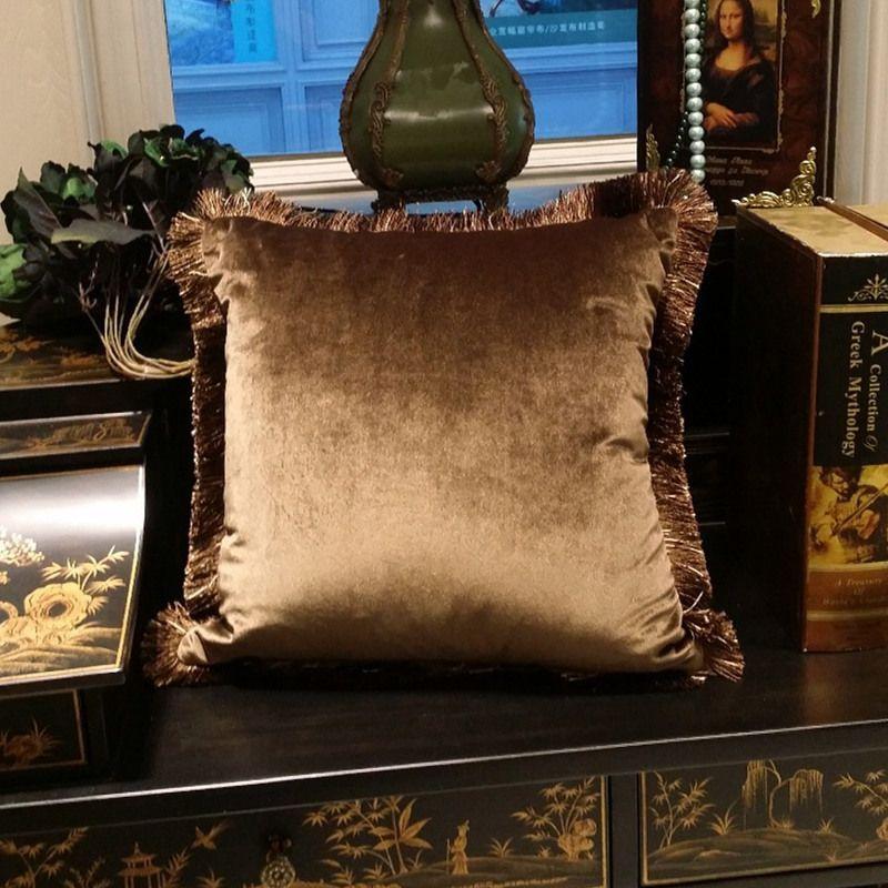Livraison gratuite solide marron Turquoise bleu brillant doux velours housse de coussin frange pipper décoratif canapé taie d'oreiller 45x45 cm